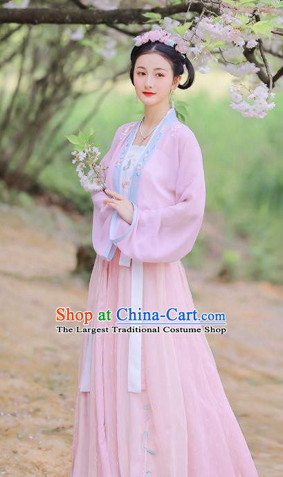 Traditional Chinese Song Dynasty Young Lady Hanfu Dress Ancient Garment Embroidered Historical Costumes