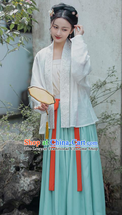Traditional Chinese Song Dynasty Historical Costumes Ancient Young Lady Hanfu Dress Embroidered Garment