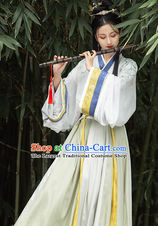 Chinese Traditional Jin Dynasty Young Lady Hanfu Dress Ancient Female Swordsman Garment Historical Costumes