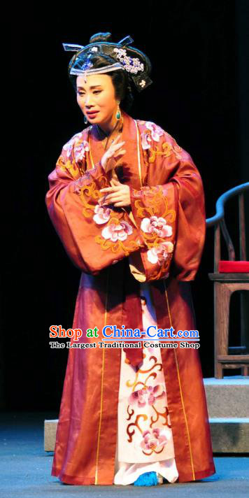 Chinese Shaoxing Opera Noble Dame Dress Apparels Costumes and Headdress Yue Opera Elderly Female Garment
