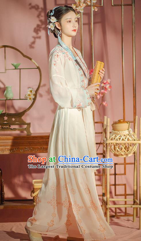 Chinese Ancient Young Female Garment Traditional Song Dynasty Historical Costumes Hanfu Dress