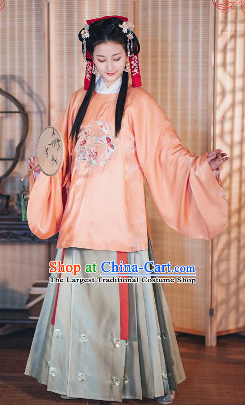 Chinese Traditional Hanfu Dress Ancient Noble Female Embroidered Garment Ming Dynasty Historical Costumes