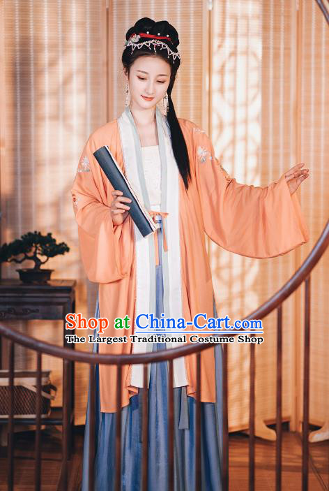 Chinese Traditional Song Dynasty Hanfu Dress Historical Costumes Ancient Young Lady Embroidered Garment