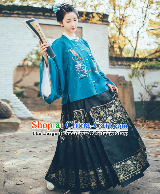 Chinese Ancient Princess Embroidered Garment Traditional Hanfu Dress Ming Dynasty Historical Costumes Complete Set