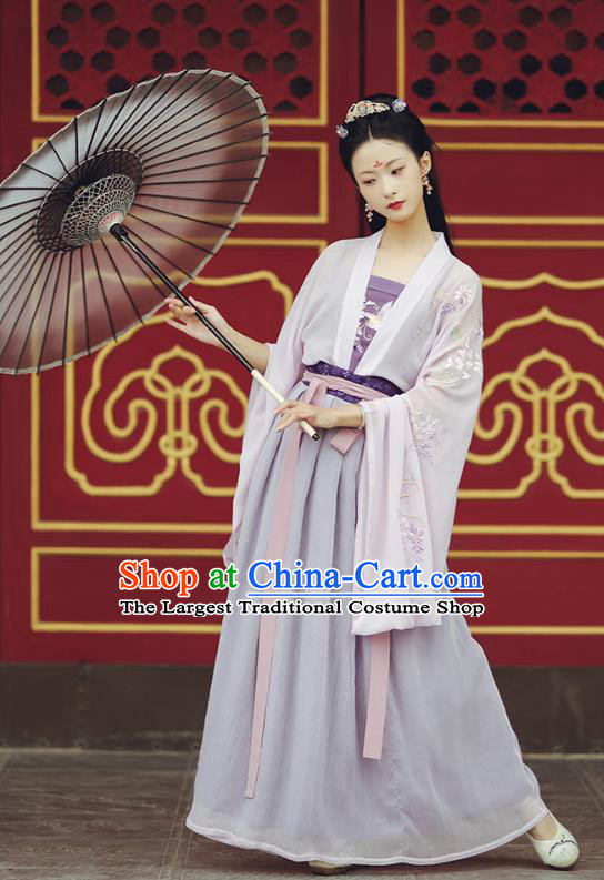 Chinese Ancient Young Lady Garment Historical Costumes Traditional Tang Dynasty Hanfu Dress