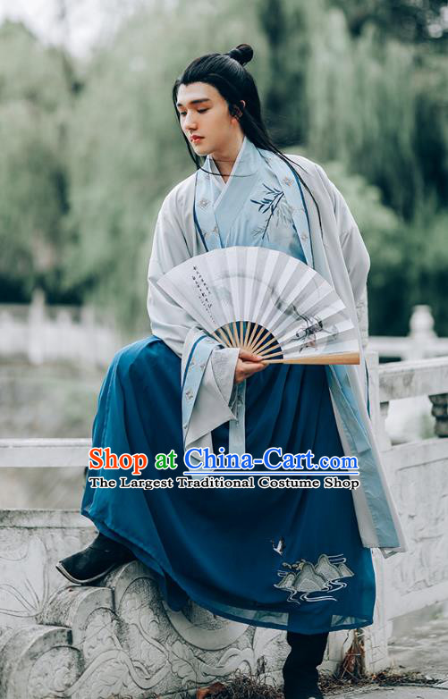 Chinese Traditional Ming Dynasty Young Man Hanfu Clothing Ancient Swordsman Historical Costumes Embroidered Garment