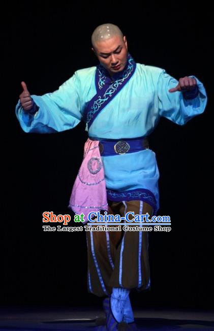 Chinese Huangmei Opera Xiaosheng Escaping From the Temple Apparels Costumes Kunqu Opera Garment Buddhist Monk Clothing
