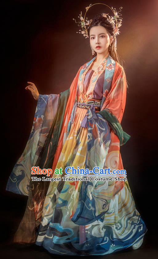 Traditional Chinese Tang Dynasty Noble Female Historical Costumes Ancient Palace Lady Embroidered Hanfu Dress Complete Set