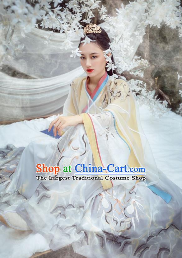 Traditional Chinese Jin Dynasty Noble Princess Historical Costumes Ancient Female Swordsman Embroidered Hanfu Dress