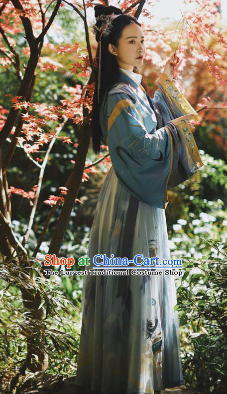 Traditional Chinese Ancient Swordswoman Hanfu Dress Jin Dynasty Apparels Royal Princess Historical Costumes for Women
