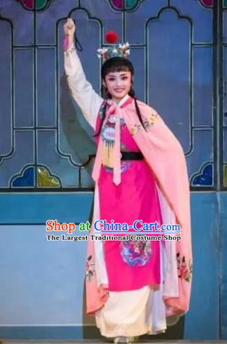 Chinese Classical Shaoxing Opera Xiao Sheng Dream of the Red Chamber Garment Costumes Yue Opera Young Male Jia Baoyu Rosy Apparels and Hair Accessories