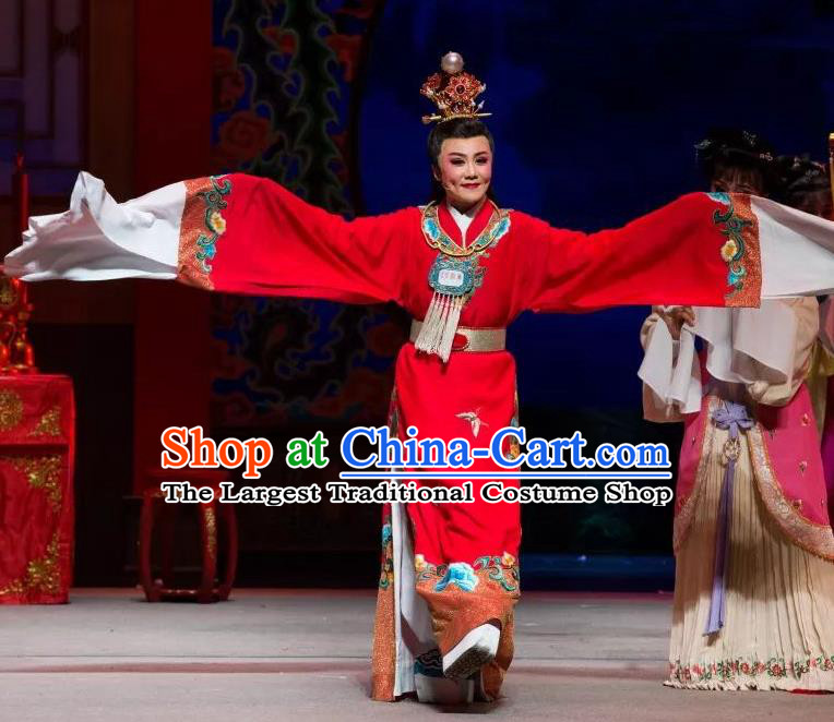 Chinese Shaoxing Opera Xiao Sheng Apparels Dream of the Red Chamber Garment Costumes Yue Opera Young Male Jia Baoyu Red Robe and Headpieces