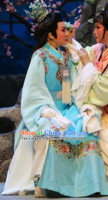 Chinese Shaoxing Opera Niche Jia Baoyu Apparels Dream of the Red Chamber Garment Costumes Yue Opera Young Male Blue Robe and Headpieces