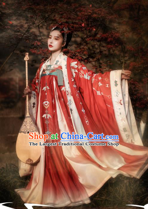 Chinese Traditional Tang Dynasty Woman Apparels Ancient Court Princess Historical Costumes Goddess Hanfu Dress