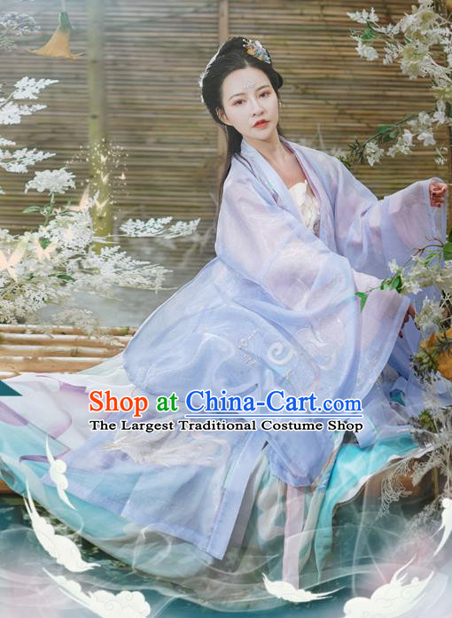 Chinese Traditional Ancient Song Dynasty Apparels Historical Costumes Goddess Patrician Lady Hanfu Dress