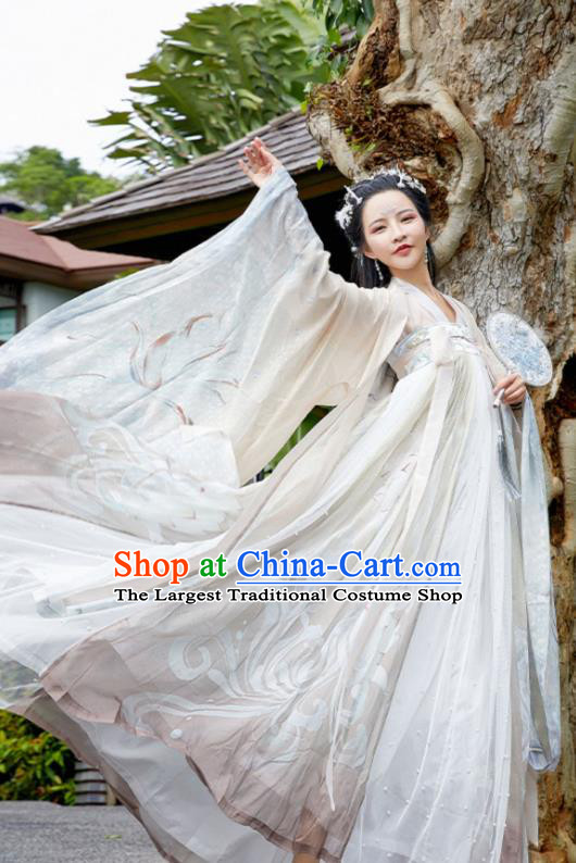 Chinese Ancient Royal Princess Hanfu Dress Traditional Tang Dynasty Apparels Historical Costumes Complete Set