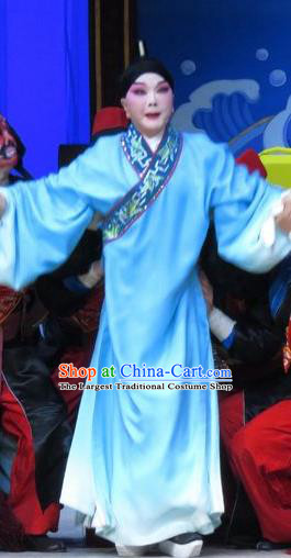 Xie Yaohuan Chinese Ping Opera Scholar Costumes and Headwear Pingju Opera Xiaosheng Blue Robe Apparels Clothing