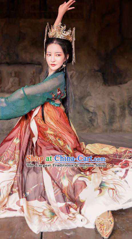 Chinese Traditional Tang Dynasty Noble Princess Hanfu Dress Apparels Ancient Court Lady Historical Costumes Complete Set
