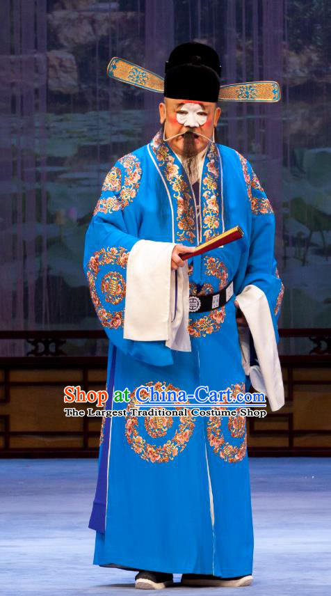 Nao Yan Fu Chinese Ping Opera Clown Costumes and Headwear Pingju Opera Magistrate Official Apparels Clothing
