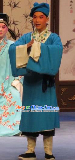Peach Blossom Temple Chinese Ping Opera Young Man Costumes and Headwear Pingju Opera Servant Apparels Clothing