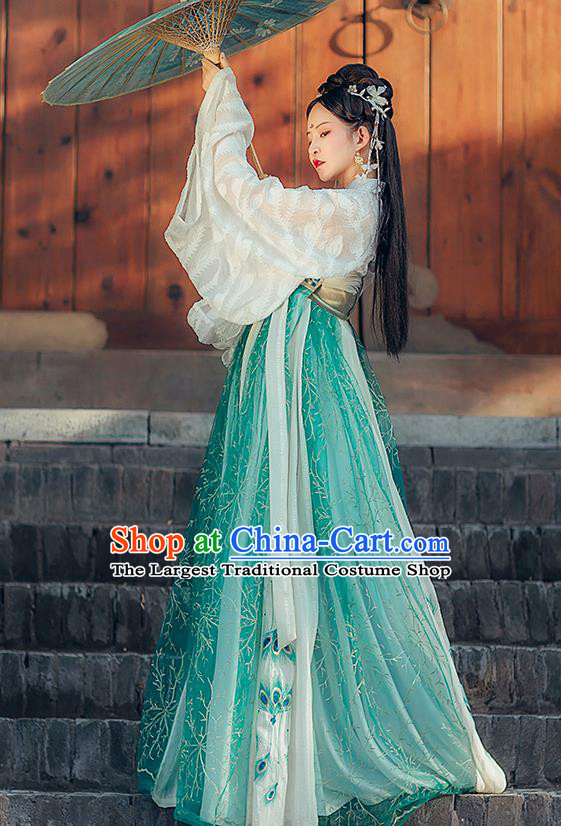 Traditional Chinese Hanfu Dress Tang Dynasty Royal Princess Historical Costumes Ancient Goddess Embroidered Apparels