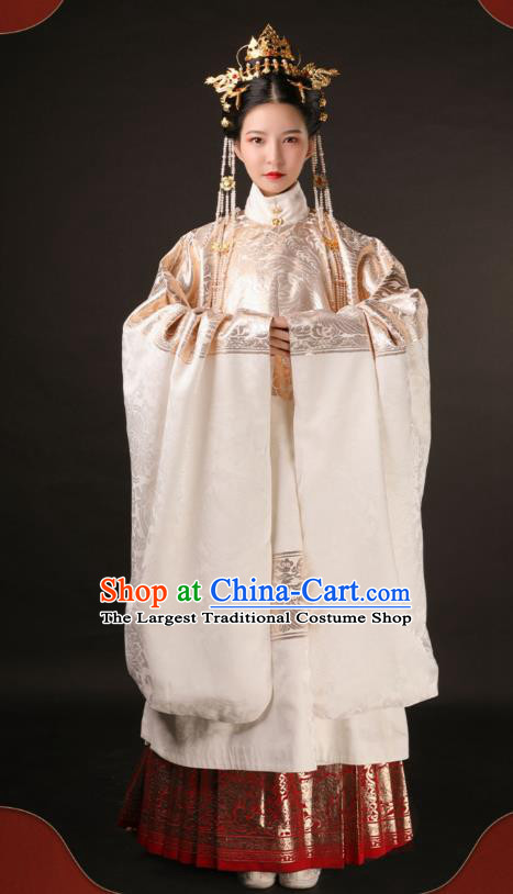 Chinese Traditional Court Royal Princess Hanfu Dress Apparels Ancient Ming Dynasty Historical Costumes Complete Set