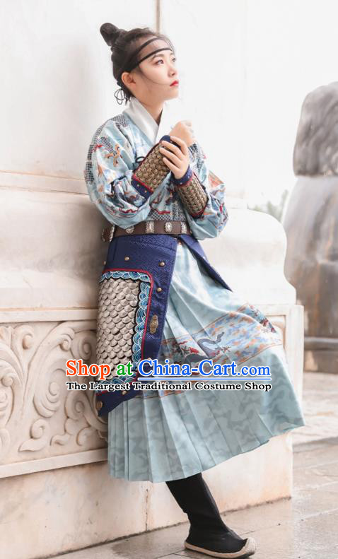Chinese Traditional Ming Dynasty Blades Hanfu Dress Apparels Ancient Female Swordsman Historical Costumes Complete Set