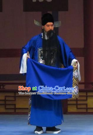 Chinese Ping Opera Elderly Male Costumes and Headwear Pingju Opera Magistrate Official Apparels Clothing