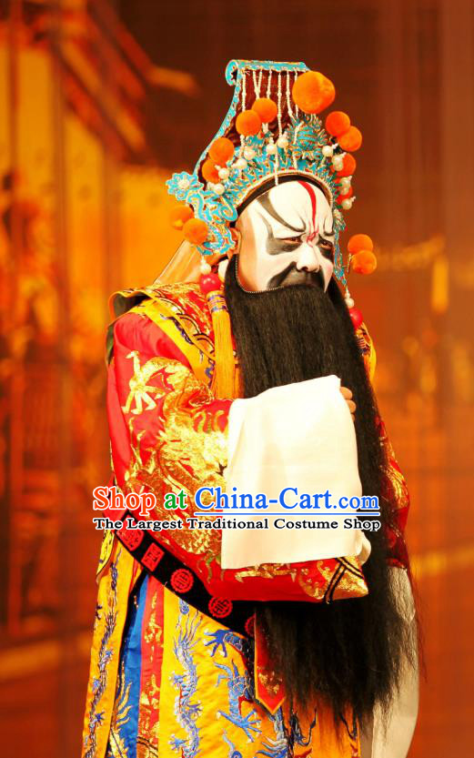Ma Zhaoyi Chinese Ping Opera Chu King Costumes and Headwear Pingju Opera Elderly Male Apparels Clothing