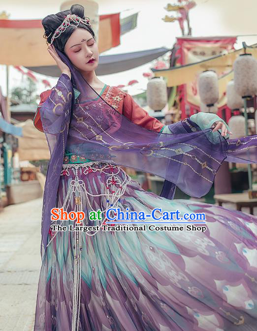 Chinese Traditional Tang Dynasty Hanfu Dress Ancient Royal Princess Embroidered Apparels Historical Costumes