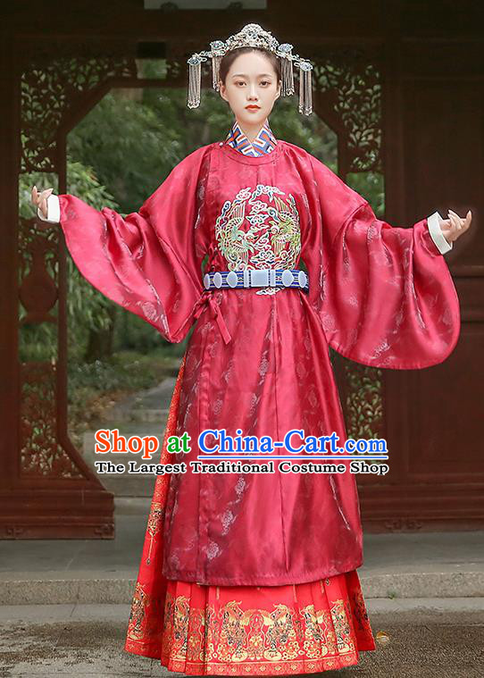 Chinese Traditional Ming Dynasty Bride Red Hanfu Robe Ancient Queen Historical Costumes Empress Apparels