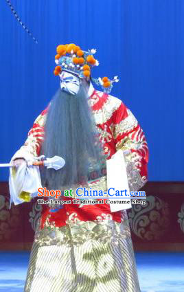 Lv Bu And Diao Chan Chinese Ping Opera Elderly Male Dong Zhuo Costumes and Headwear Pingju Opera Apparels Minister Red Clothing
