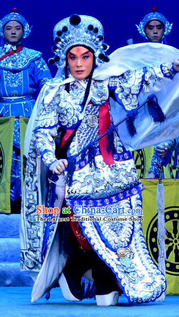Di Qing Chinese Peking Opera Martial Actor Garment Costumes and Headwear Beijing Opera Takefu Apparels General Di Qing Armor Clothing