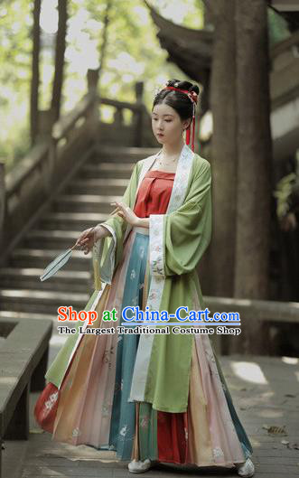 Chinese Ancient Civilian Female Hanfu Dress Garment Traditional Song Dynasty Apparels Young Lady Historical Costumes Complete Set