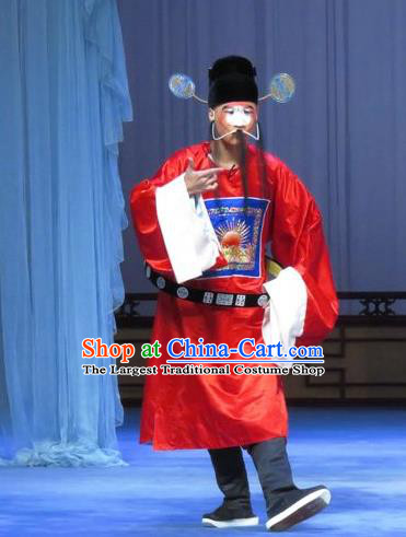 Tao Li Mei Chinese Ping Opera Official Red Costumes and Headwear Pingju Opera Magistrate Apparels Clothing