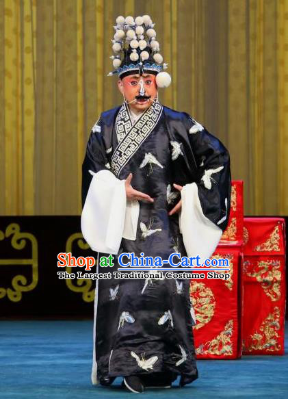 Chained Traps Chinese Peking Opera Jing Role Garment Costumes and Headwear Beijing Opera Martial Male Apparels Clothing
