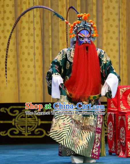 Chained Traps Chinese Peking Opera Martial Male Garment Costumes and Headwear Beijing Opera Jing Role Apparels General Dou Erdun Clothing
