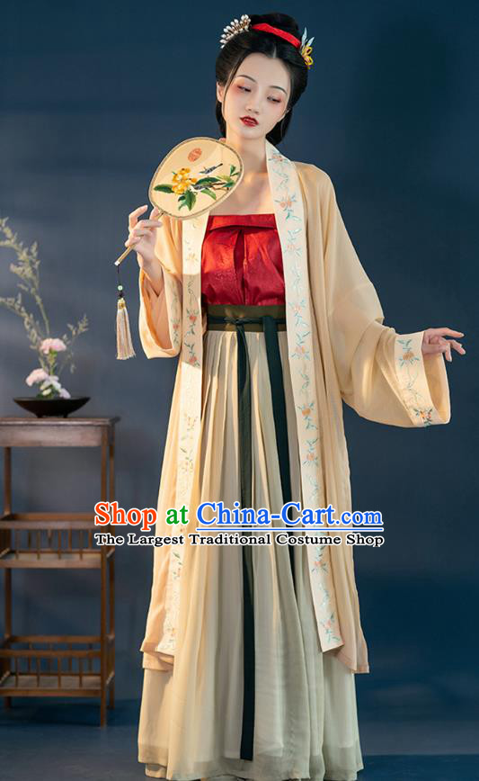 Chinese Ancient Young Female Hanfu Dress Traditional Garment Apparels Song Dynasty Historical Costumes Complete Set