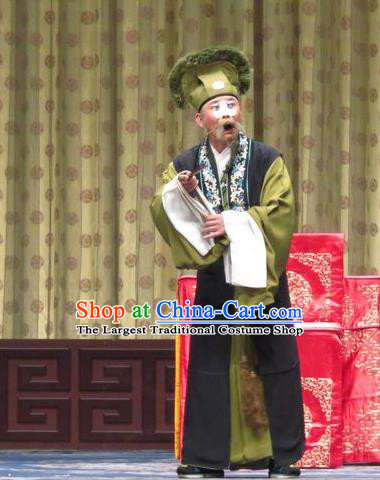 Qin Xianglian Chinese Ping Opera Chou Role Apparels Costumes and Headwear Pingju Opera Laosheng Clothing