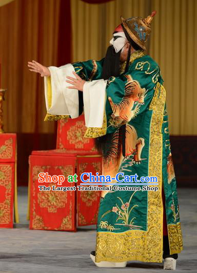 Refuse to Attend A Feast Chinese Peking Opera Jing Role Garment Costumes and Headwear Beijing Opera Elderly Male Apparels Lord Clothing