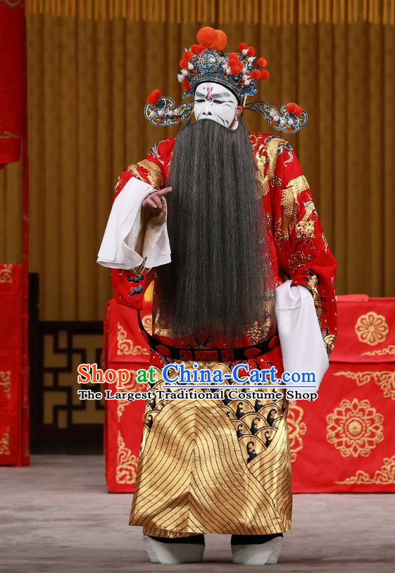 Yang Ping Guan Chinese Peking Opera Jing Role Garment Costumes and Headwear Beijing Opera Elderly Male Apparels Chancellor Cao Cao Clothing