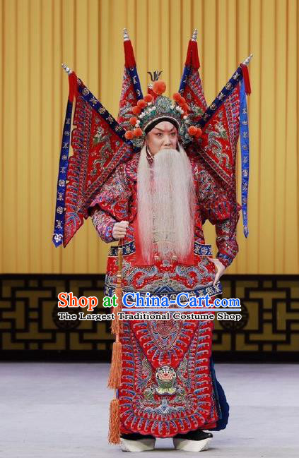 Nan Tian Men Chinese Peking Opera Jing Role Garment Costumes and Headwear Beijing Opera Apparels Clothing General Red Kao Armor Suit with Flags