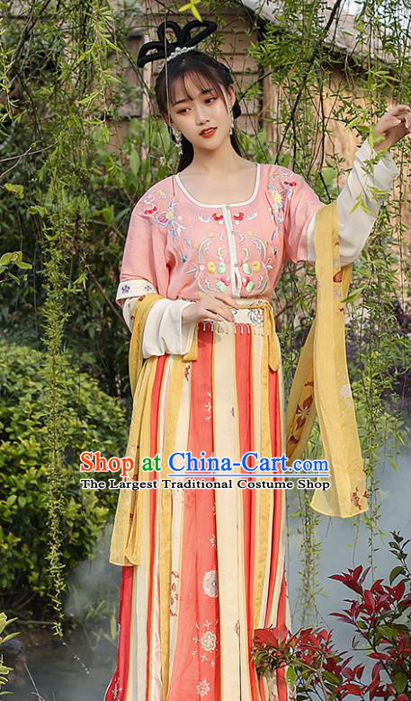 Chinese Traditional Tang Dynasty Young Lady Hanfu Dress Ancient Royal Princess Apparels Goddess Historical Costumes Complete Set