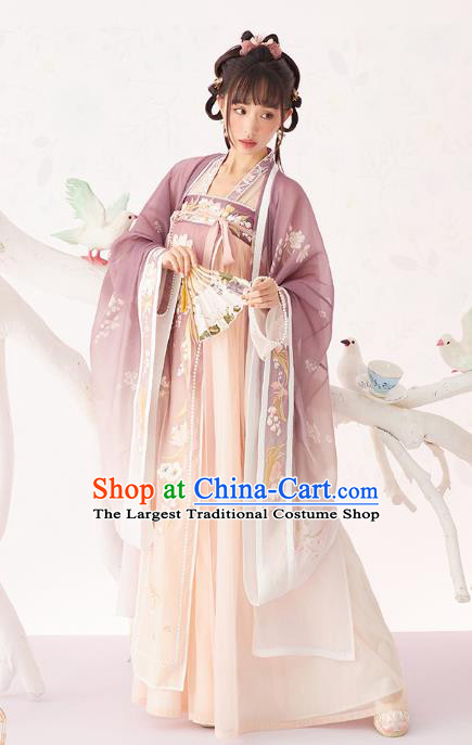 Chinese Traditional Song Dynasty Court Princess Historical Costumes Ancient Royal Infanta Nobility Lady Hanfu Dress Garment Complete Set
