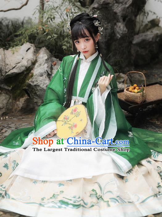 Chinese Traditional Ming Dynasty Noble Infanta Historical Costumes Ancient Court Female Garment Embroidered Hanfu Dress