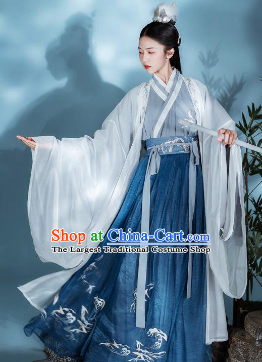 Chinese Traditional Jin Dynasty Swordsman Historical Costumes Ancient Noble Prince Embroidered Hanfu Garment for Men