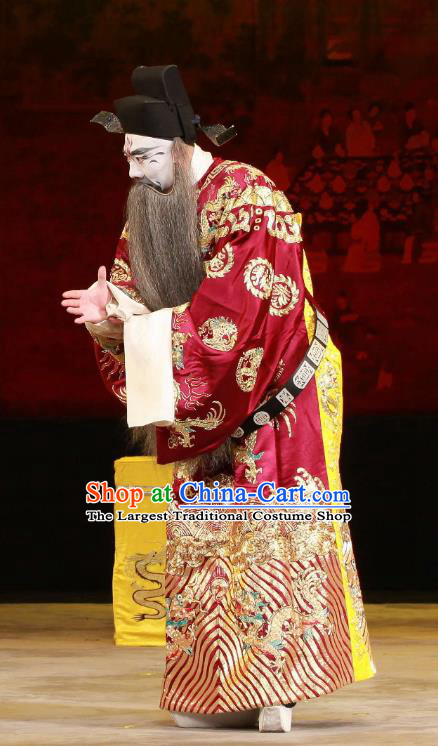 Feng Yu Xing Huang Qi Chinese Peking Opera Jing Role Garment Costumes and Headwear Beijing Opera Elderly Male Apparels Minister Official Clothing