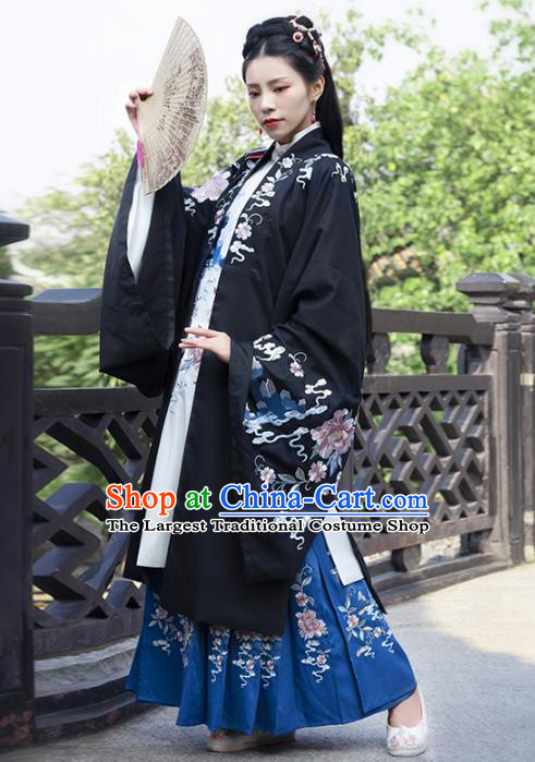 Traditional Chinese Ancient Patrician Female Embroidered Hanfu Dress Garment Song Dynasty Noble Infanta Historical Costumes for Women