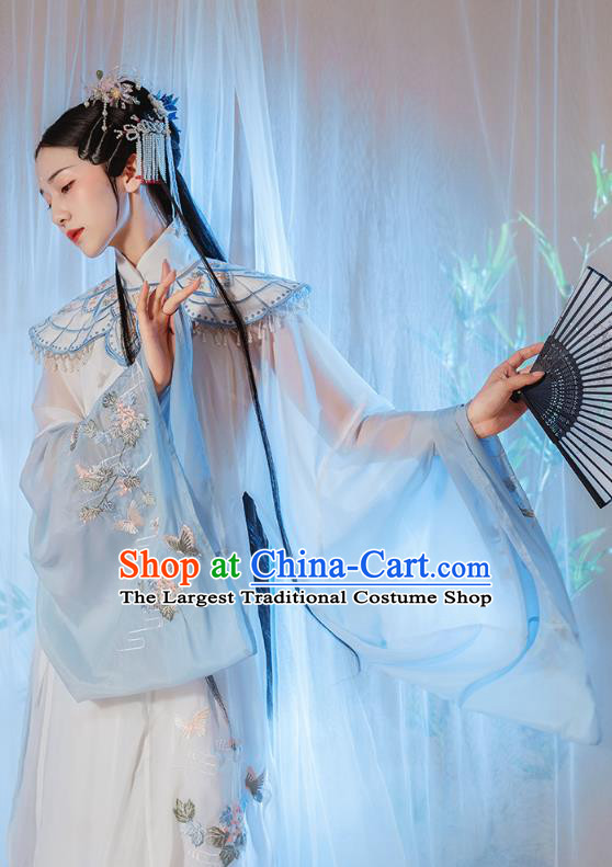 Chinese Traditional Ming Dynasty Royal Princess Historical Costumes Ancient Noble Female Blue Hanfu Dress Embroidered Garment
