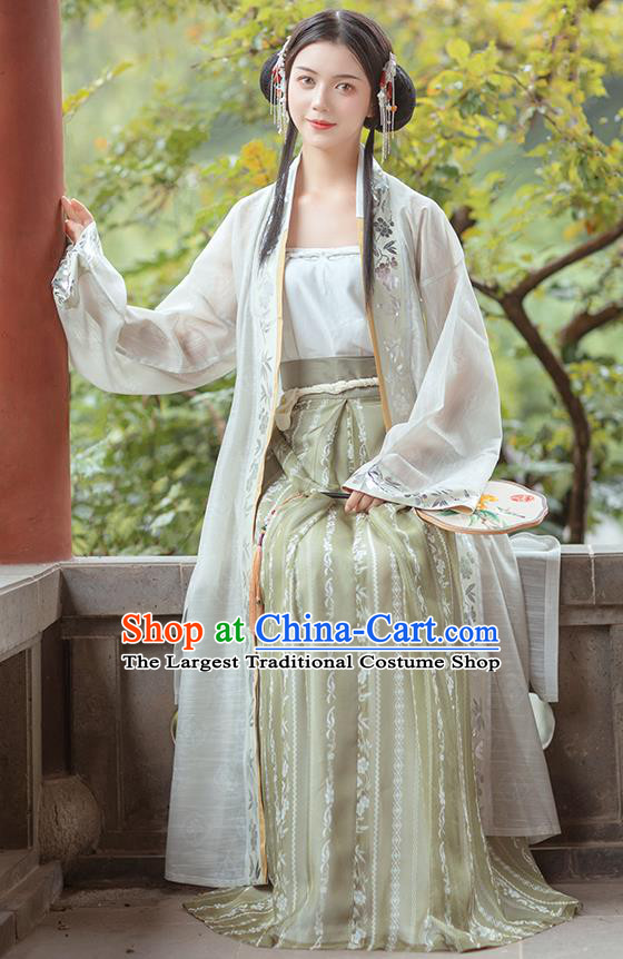 Chinese Traditional Song Dynasty Civilian Female Historical Costumes Ancient Young Lady Embroidered Hanfu Dress Garment Complete Set